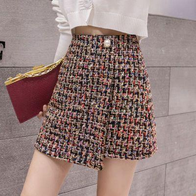 小香风气质半身裙秋冬季高腰短裙复古包臀裙格纹粗纺花毛呢A字裙