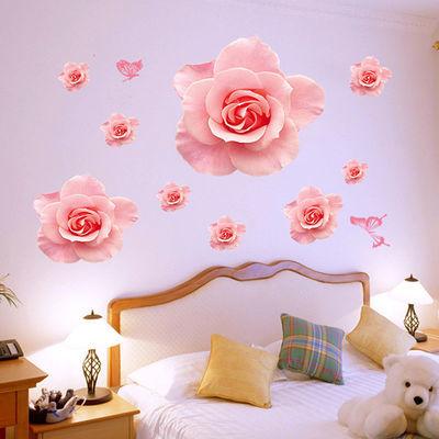温馨浪漫卧室墙壁装饰贴纸可移除自粘壁纸墙纸客厅电视背景墙贴画