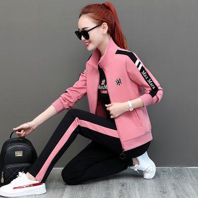 高含棉运动服套装女春季新款韩版大码休闲宽松长袖长裤三件套运动
