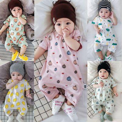 纯棉男女宝宝连体衣短袖新生哈幼婴儿衣服夏季童装0-369个月一2岁