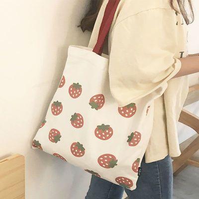 草莓包包女韩版2019新款单肩帆布袋ins少女休闲文艺简约手提包
