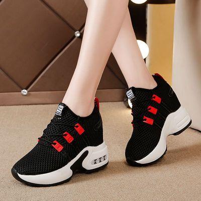 内增高小白鞋女春季2020新款网面网鞋韩版运动鞋气垫旅游鞋女单鞋