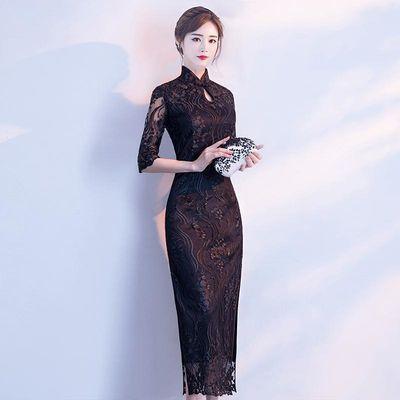 黑色旗袍年轻款少女时尚长款气质改良版优雅蕾丝新式中国风连衣裙