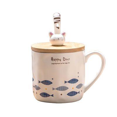 ins女陶瓷杯子少女心创意猫咪独角兽马克杯带勺带盖早餐牛奶水杯