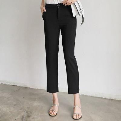 韩版西装裤女九分夏天宽松显瘦直筒学生西裤休闲工装百搭黑色裤子