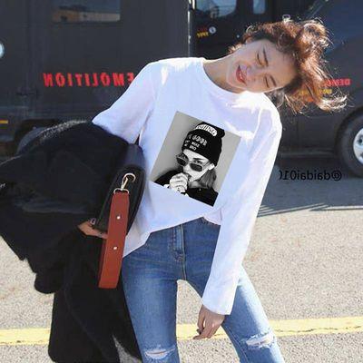 春秋韩版长袖t恤女宽松百搭情侣装圆领白色打底衫女学生bf上衣潮