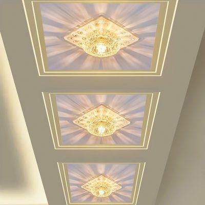 LED水晶过道灯走廊灯玄关灯入户灯客厅吊顶筒灯射灯现代简约孔灯