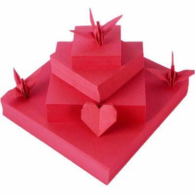 大红色正方形折纸卡纸 diy纯色叠爱心千纸鹤折纸儿童手工益智剪纸主图