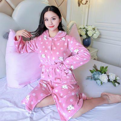韩版加厚法兰绒睡衣女士长袖睡裙女式秋冬季睡袍珊瑚绒家居服浴袍
