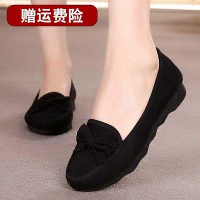 老北京布鞋女黑色鞋子平底上班餐饮软底女士一脚蹬休闲工作鞋夏天