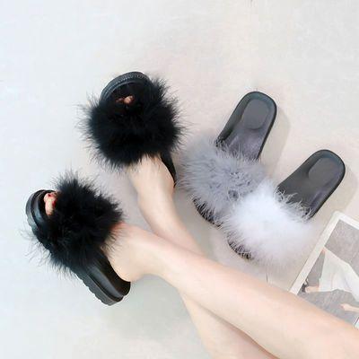 2018夏季时尚鸵鸟毛厚底凉鞋女韩版毛毛平底一字拖外穿居家女拖鞋