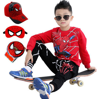 男童长袖套装春秋儿童t恤运动冬季卡通奥特曼衣服加绒蜘蛛侠童装