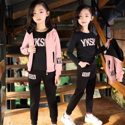 儿童装女童春秋装2018新款5韩版6洋气7小女孩8衣服10三件套装12岁