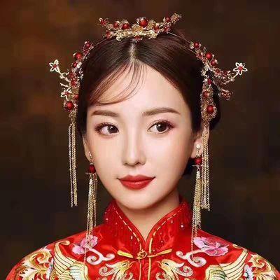 新款古代中式秀禾服头饰新娘古装头饰发箍流苏凤冠结婚发饰品套装