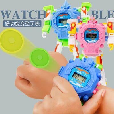 可弹射子弹电子手表儿童变形金刚机器人变形手表男孩女孩卡通玩具【3月8日发完】