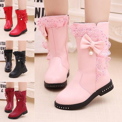 女童靴子2018秋冬新款儿童高筒靴中大童蕾丝单靴靴加绒棉靴