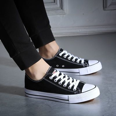 人本男鞋高帮帆布鞋男平底板鞋学生鞋韩版潮情侣款休闲鞋黑色布鞋主图