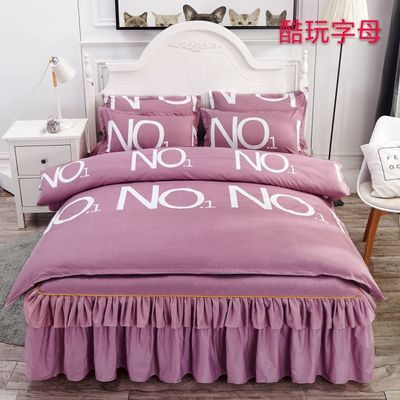 床裙四件套床上用品韩版床罩磨毛床单被套被罩双人公主风1.51.8米