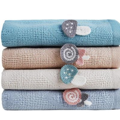 植初4条装儿童纱布毛巾柔软纯棉童巾宝宝洗脸吸水速干可爱小面巾