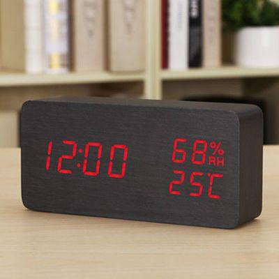 时尚LED创意电子钟表 夜光静音闹钟 温湿度计学生床头钟木 座台钟