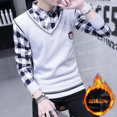 男士毛衣加绒假两件加厚衬衫领针织衫冬季青少年修身保暖学生毛衫