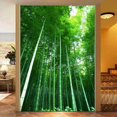 竹林竹子海报绿色护眼装饰画树林玄关过道走廊墙贴画风景自粘挂画