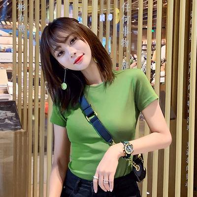 牛油果绿短袖T恤女 纯棉圆领衫