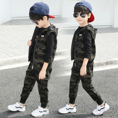 童装男童春装套装2019新款韩版迷彩春秋季儿童洋气三件套两件套