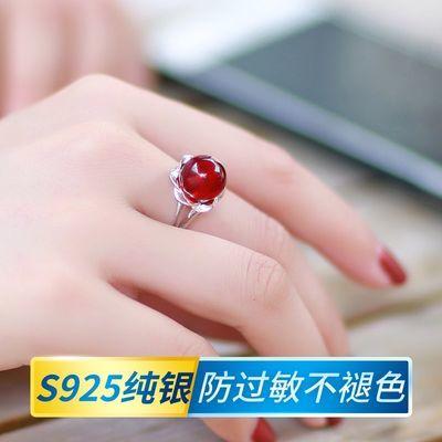 琥珀蜜蜡戒指女活口可调节鸡油黄血珀酒红色925银指环转运珠礼物