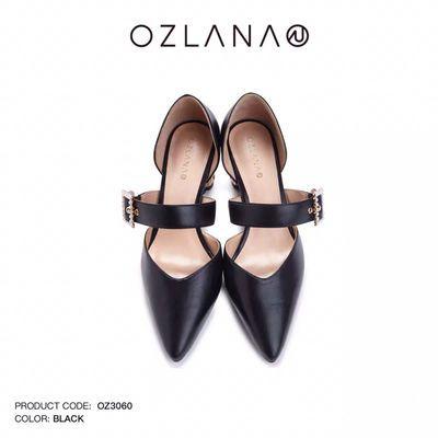 Ozlana2019春季新品闪钻珍珠扣设计木纹高跟鞋时尚简约风羊皮女鞋