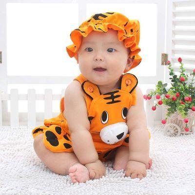 动物造型连体衣可开档纯棉薄款婴儿衣服夏季0-2岁宝宝爬服拍照服