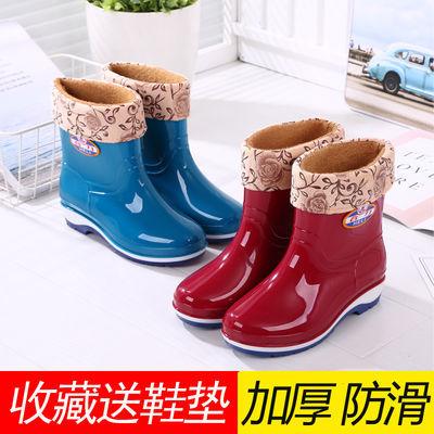 雨鞋女士中筒加绒保暖雨靴防滑女式水鞋高筒胶鞋加棉加厚水靴套鞋