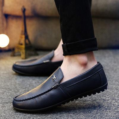 流行男鞋加厚保暖学生懒人鞋青少年个性时尚休闲透气一脚蹬豆豆鞋