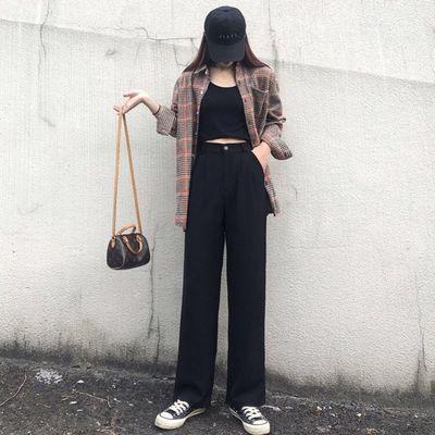 黑色垂感阔腿裤女2020夏季新款韩版宽松百搭显瘦西装直筒拖地长裤