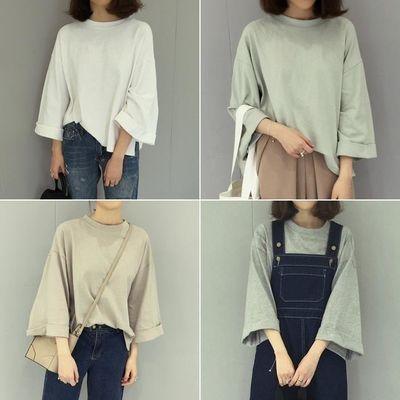 春夏季短袖t恤女学生韩版七分袖ins宽松bf百搭纯色中袖上衣服潮
