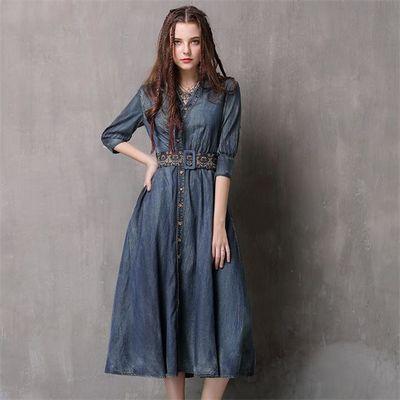 春秋女装新款气质不规则牛仔裙收腰复古腰带款刺绣中袖牛仔连衣裙