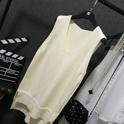 毛衣马甲女新款修身V领背心学生韩版针织打底衫中长款无袖春秋女