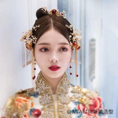 新娘古装头饰凤冠秀禾和服旗袍配饰中式民族红色饰品结婚礼服发饰