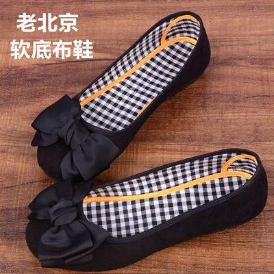 夏季新款老北京布鞋女工作鞋时尚蝴蝶结平跟软底妈妈鞋孕妇豆豆鞋