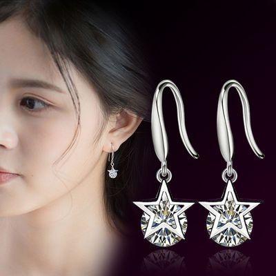 买一送一新款纯银耳扣女耳环时尚气质大小耳圈耳钉水晶防过敏耳饰