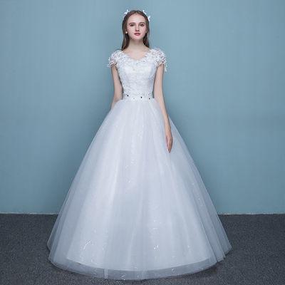 婚纱礼服蕾丝双肩V领显瘦公主大码齐地婚纱2019新款新娘结婚礼服【3月10日发完】