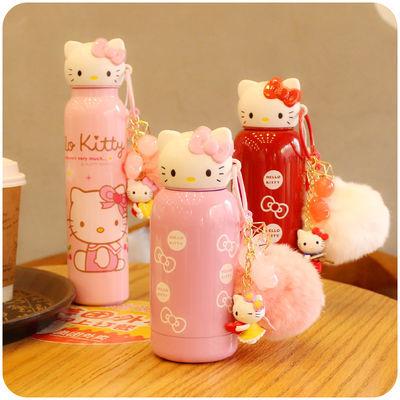 韩国创意可爱卡通K猫头保温杯不锈钢便携女学生儿童水杯水壶包邮