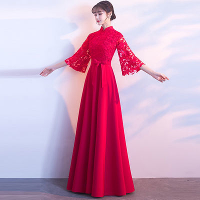 新娘敬酒服长款2019新款红色秋季礼服女结婚中式长款修身显瘦【2月29日发完】