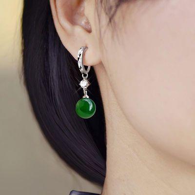 925纯银耳扣 玛瑙珍珠耳环奥地利水晶耳饰奥钻闪钻女款长款耳圈