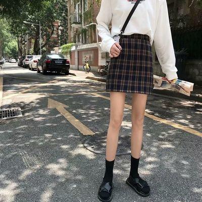 短裙女2020夏装新款复古格子高腰显瘦A字包臀裙半身裙女学生裙子