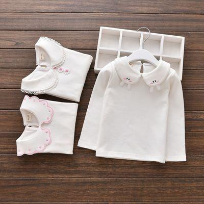 女童春秋装白色打底衫儿童娃娃领上衣宝宝秋冬加绒长袖t恤小女孩