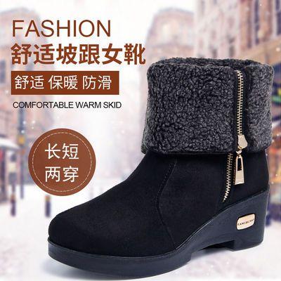 冬季新款老北京布鞋女棉鞋加绒棉靴加厚底坡跟短筒中筒马丁雪地靴