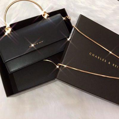 香港专柜小ck限定小方包2019新款链条女包手提金属提把长款钱包