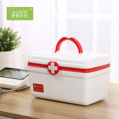 家用桌面儿童药品双层收纳箱塑料手提式整理箱医药箱杂物储物箱