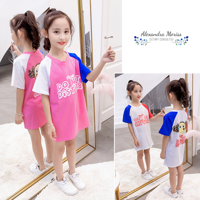 女童半截袖中长款儿童宽松连衣裙夏装短袖t恤中大儿童洋气上衣潮
